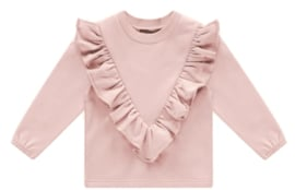House of Jamie: Front Ruffled Sweater - Powder Pink