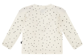House of Jamie: Front Ruffled Sweater - Cream Black Dots
