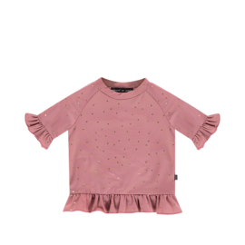 House of Jamie: Meisjes UV Frill Top - Orchid Golden Dots