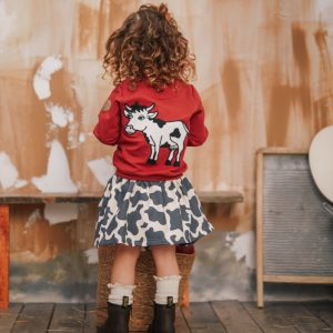 Dear Sophie: Cow Bomber Jacket Red
