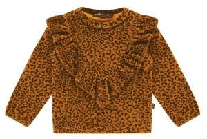 House of Jamie: Front Ruffled Sweater - Golden Brown Leopard
