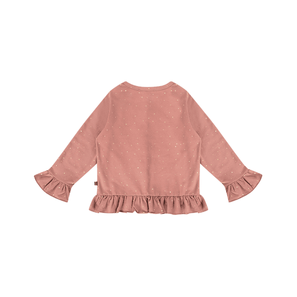 House of Jamie: Frill Cardigan - Dusty Mauve Golden Dots