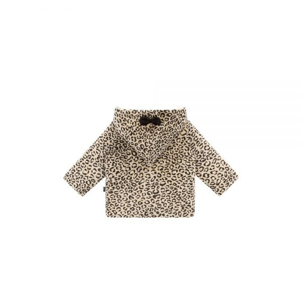 House of Jamie: Bow tie Hooded Jacket - Snow Leopard