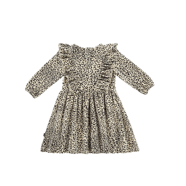 House of Jamie: Front Ruffled Dress - Snow Leopard
