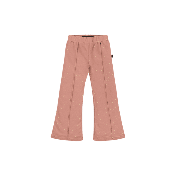 House of Jamie: Flared pants - Dusty Mauve Golden Dots