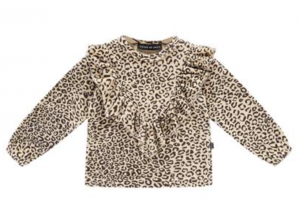 House of Jamie: Front Ruffled Sweater - Snow Leopard