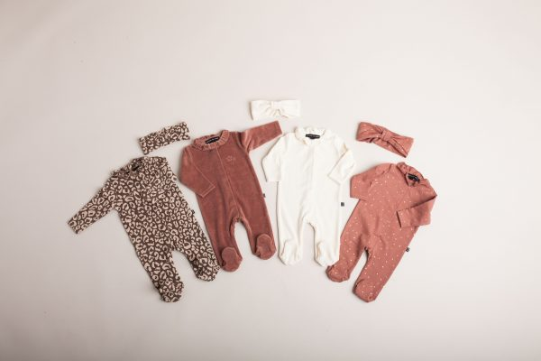 House of Jamie: Frill Babysuit - Rosewood Leopard