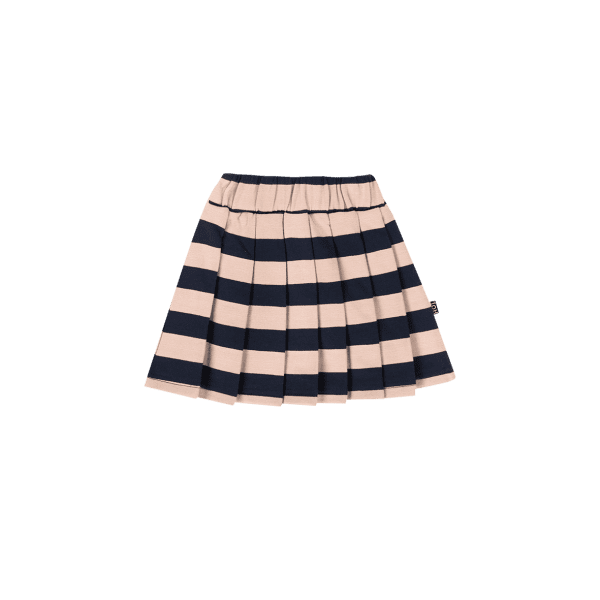House of Jamie: Pleated Skirt - Biscuit and Blue stripes